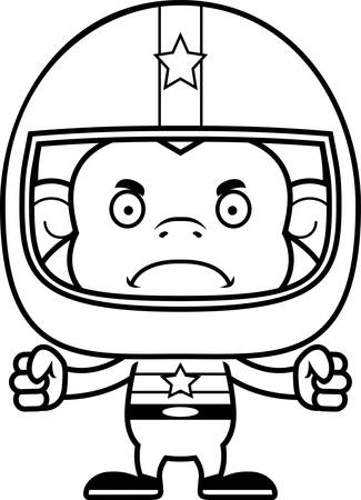 car driver: A cartoon race car driver monkey looking angry. Illustration