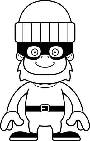 sasquatch: A cartoon thief sasquatch smiling.