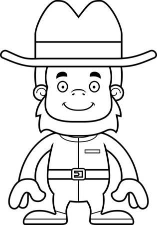 sasquatch: A cartoon cowboy sasquatch smiling.
