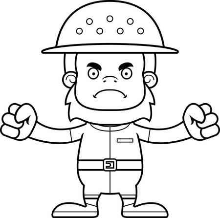 sasquatch: A cartoon zookeeper sasquatch looking angry. Illustration
