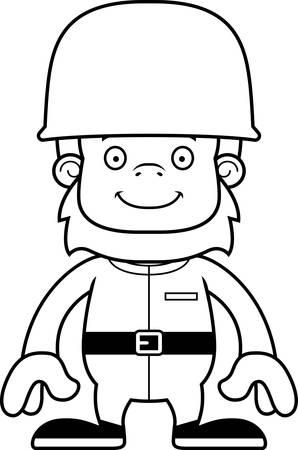 sasquatch: A cartoon soldier sasquatch smiling.
