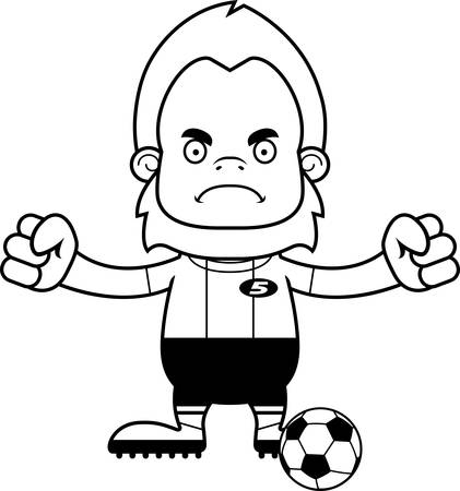sasquatch: A cartoon soccer player sasquatch looking angry.