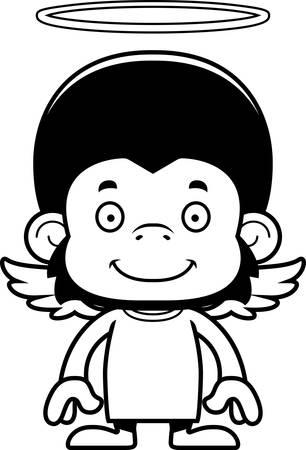 A cartoon angel chimpanzee smiling.