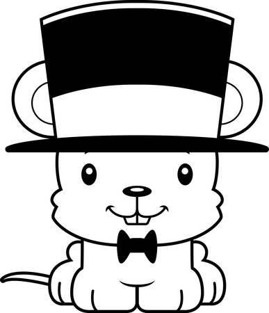 top hat: A cartoon mouse smiling in a top hat. Illustration