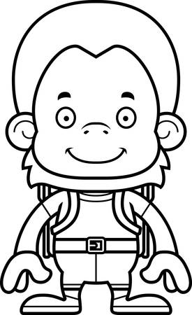 hiker: A cartoon hiker orangutan smiling.