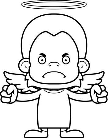 orangutan: A cartoon angel orangutan looking angry.