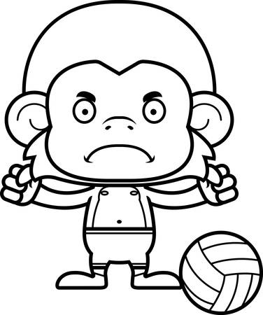 playa caricatura: Un jugador de voleibol de playa de mono de dibujos animados buscando enojado. Vectores