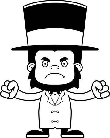 ringmaster: A cartoon ringmaster gorilla looking angry.