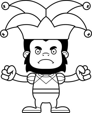 A cartoon jester gorilla looking angry.