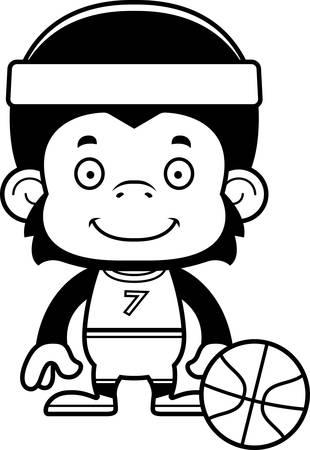 chimp: A cartoon basketball player chimpanzee smiling. Illustration