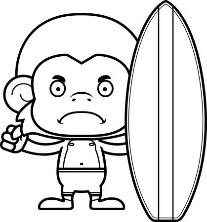 monkey suit: A cartoon surfer monkey looking angry.