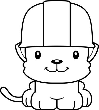 tool belt: A cartoon construction worker kitten smiling.
