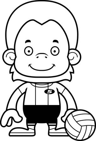 orangutan: A cartoon volleyball player orangutan smiling.