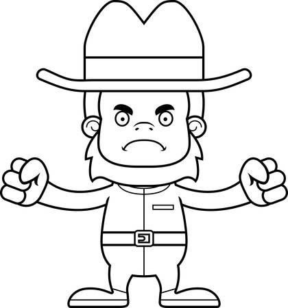 sasquatch: A cartoon cowboy sasquatch looking angry.
