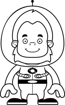 spaceman: A cartoon spaceman sasquatch smiling.
