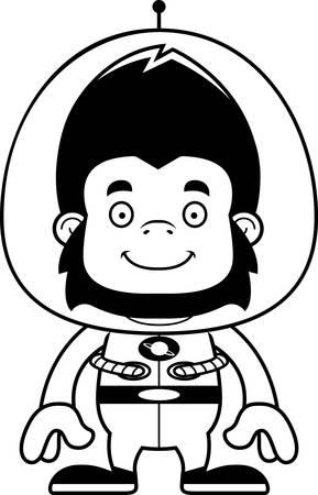 spacesuit: A cartoon spaceman gorilla smiling.