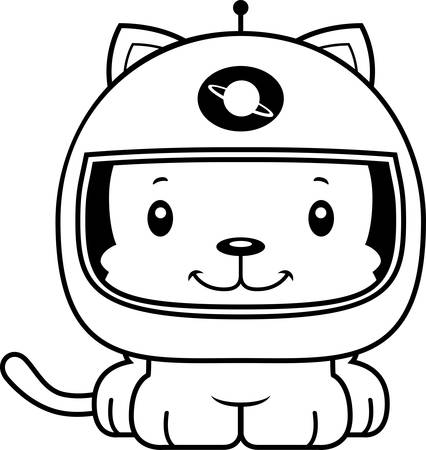 spacesuit: A cartoon astronaut kitten smiling.