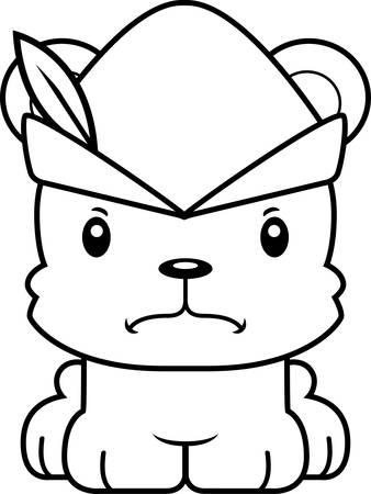 robin hood: A cartoon Robin Hood bear looking angry.