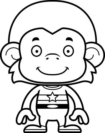 tights: A cartoon superhero monkey smiling. Illustration