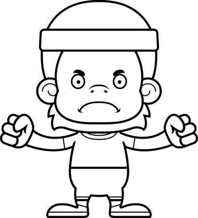 orangutan: A cartoon fitness orangutan looking angry. Illustration
