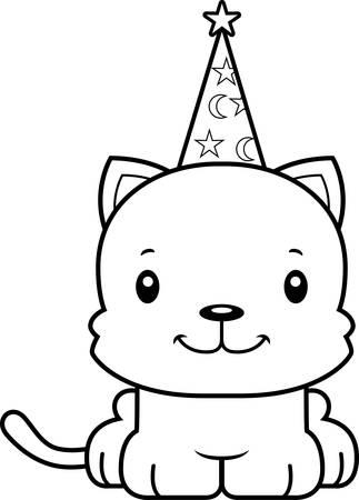 A cartoon wizard kitten smiling. Ilustrace