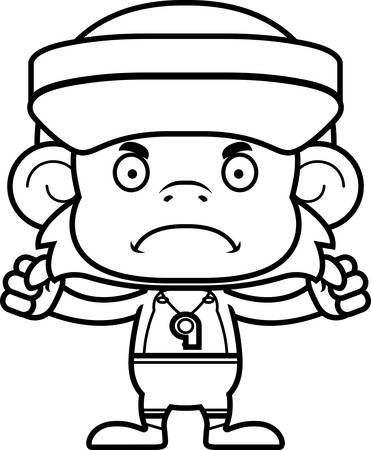 hat with visor: A cartoon lifeguard monkey looking angry.