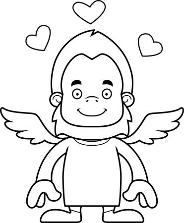 A cartoon cupid sasquatch smiling.