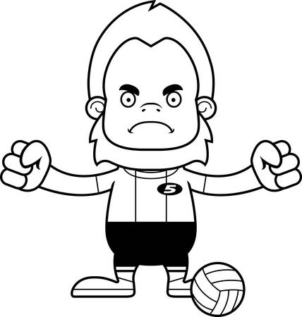 sasquatch: A cartoon volleyball player sasquatch looking angry.