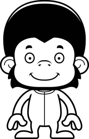 chimp: A cartoon chimpanzee smiling in pajamas.