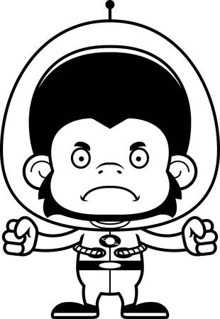 chimpanzee: A cartoon spaceman chimpanzee looking angry. Illustration