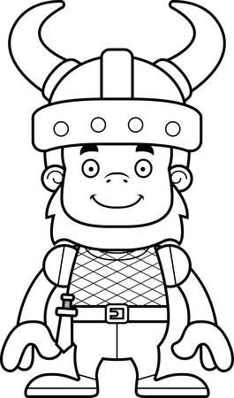 sasquatch: A cartoon Viking sasquatch smiling.