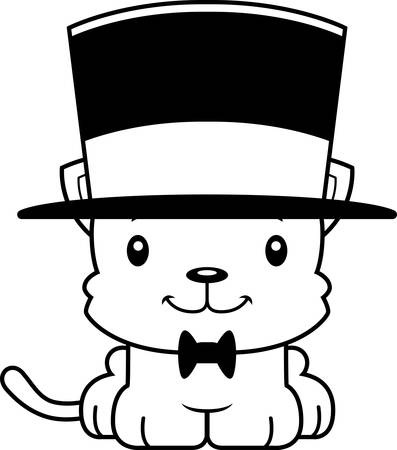top hat cartoon: A cartoon kitten smiling in a top hat.