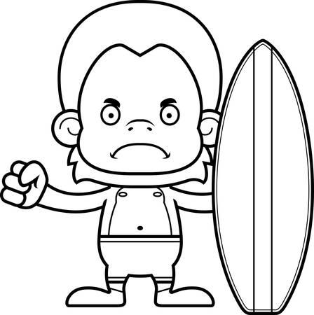 orangutan: A cartoon surfer orangutan looking angry. Illustration