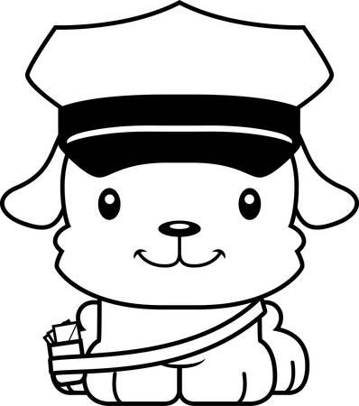Een cartoon postbode puppy glimlachen.