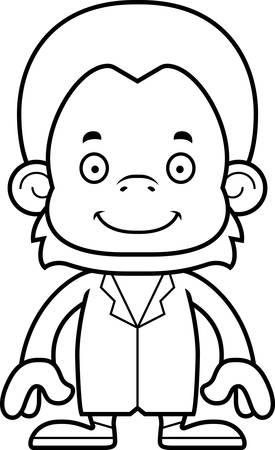A cartoon doctor orangutan smiling. Ilustração
