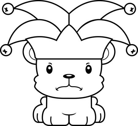 A cartoon jester bear looking angry.