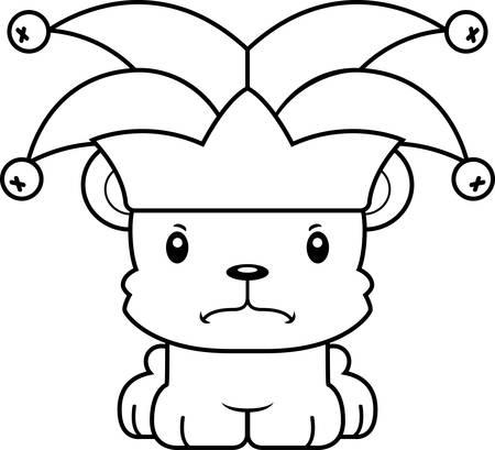 A cartoon jester bear looking angry. Reklamní fotografie - 44739122