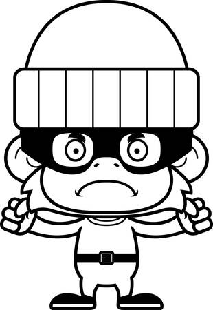 A cartoon thief monkey looking angry.