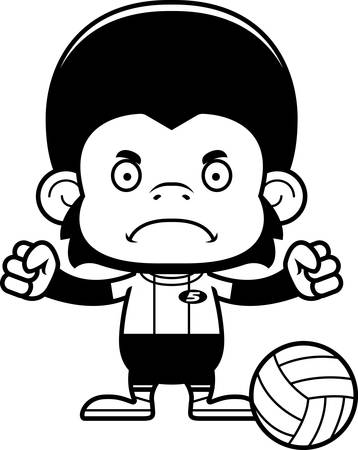 chimpanzee: A cartoon volleyball player chimpanzee looking angry.