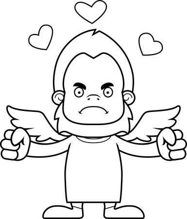 sasquatch: A cartoon cupid sasquatch looking angry.