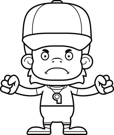 A cartoon  orangutan looking angry.
