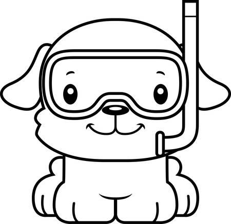 笑みを浮かべて漫画シュノーケル子犬。  イラスト・ベクター素材