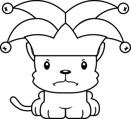 A cartoon jester kitten looking angry.