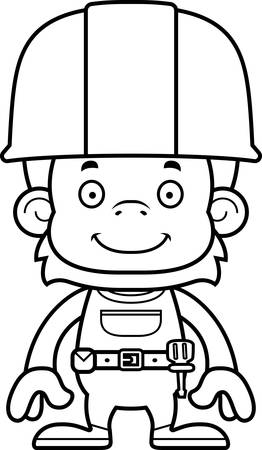 tool belt: A cartoon construction worker orangutan smiling.