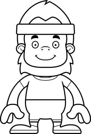 sasquatch: A cartoon fitness sasquatch smiling.