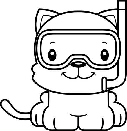 cat suit: A cartoon snorkeler kitten smiling.