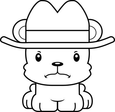 frown: A cartoon cowboy bear looking angry.