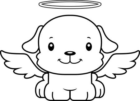 A cartoon angel puppy smiling.