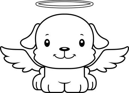 ali angelo: Un cucciolo cartone animato angelo sorridente. Vettoriali