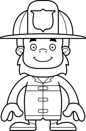 sasquatch: A cartoon firefighter sasquatch smiling. Illustration